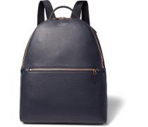 Burlington Full-grain Leather Backpack - Navy