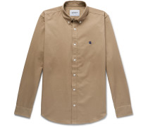 Madison Button-Down Collar Logo-Embroidered Cotton-Twill Shirt