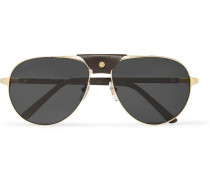 Aviator-style Leather-trimmed Gold-tone Sunglasses - Gold