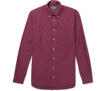 Slim-fit Button-down Collar Cotton-flannel Shirt - Burgundy