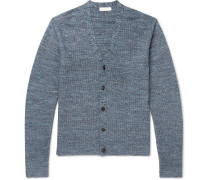 Slim-fit Waffle-knit Mélange Cotton And Linen-blend Cardigan