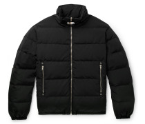 Leather-trimmed Quilted Faille Down Jacket