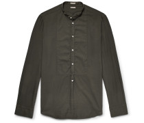 Vasells Grandad-collar Poplin-trimmed Modal And Cotton-blend Twill Half-placket Shirt