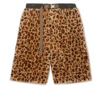 Wide-leg Leopard-print Faux Fur Shorts - Beige