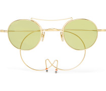 Round-frame Aviator-style Gold-tone Sunglasses