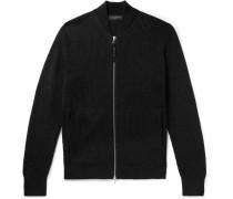 Andrew Slim-fit Ribbed Merino Wool-blend Zip-up Cardigan - Black