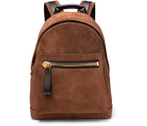 Suede And Leather Backpack - Brown