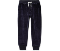 Tapered Cotton-blend Velour Sweatpants - Navy