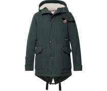 Appliquéd Cotton-twill Hooded Parka With Detachable Faux Shearling Lining