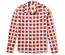 Shorthorn Camp-collar Checked Cotton-flannel Shirt