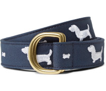 3cm Embroidered Leather-trimmed Cotton-twill Belt