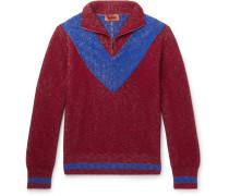 Colour-block Ribbed Wool Half-zip Sweater