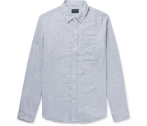 Button-down Collar Double-faced Brushed-cotton Shirt