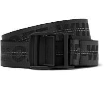 3.5cm Black Industrial Canvas Belt - Black