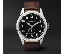 1858 Automatic 44mm Stainless Steel And Leather Watch - Black