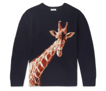 Giraffe-intarsia Merino Wool And Cashmere-blend Sweater - Navy