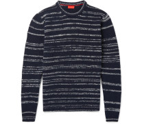Striped Slub Wool-blend Mock-neck Sweater