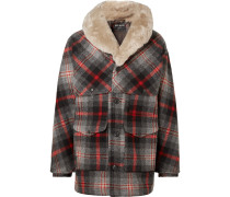 Limited Edition Packer Shearling-Trimmed Checked Wool Coat