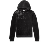 Distressed Cotton-blend Velvet Hoodie - Black