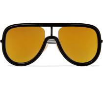 Aviator-Style Acetate and Metal Mirrored Sunglasses
