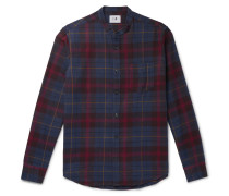 Grandad-Collar Checked Cotton and Wool-Blend Flannel Shirt
