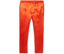 Webbing-trimmed Satin-twill Drawstring Trousers