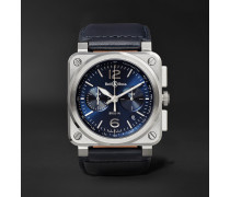 Automatic Chronograph 42mm Steel and Leather Watch, Ref. No. BR0394-‐BLU-‐ST/SCA
