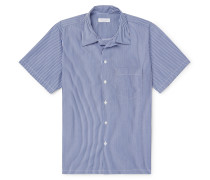Camp-Collar Fil Coupé Cotton-Poplin Shirt