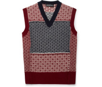 Slim-fit Fair Isle Patchwork Wool And Cashmere-blend Sweater Vest - Burgundy