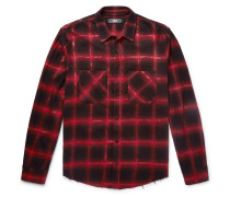 Glittered Checked Cotton-blend Flannel Overshirt