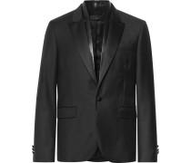 Black Slim-fit Leather-trimmed Virgin Wool Blazer