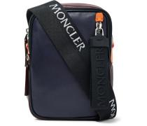 Colour-block Leather Messenger Bag