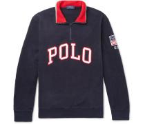 Logo-appliquéd Fleece Half-zip Sweatshirt - Navy