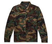 Camouflage-print Fleece Jacket - Army green