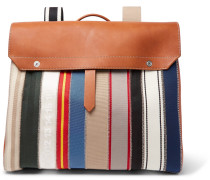 Leather And Striped Canvas Backpack