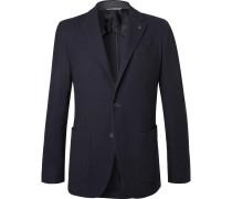 Navy Slim-fit Unstructured Textured-wool Blazer