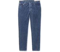 Slim-fit Tapered Cotton-corduroy Trousers - Blue