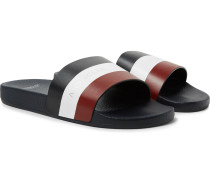 Basile Logo-Print Striped Leather Slides