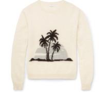 Palm Tree-intarsia Mohair-blend Sweater