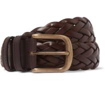 3.5cm Dark-brown Woven Leather Belt - Brown
