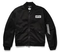 Embellished Distressed Stretch-cotton Twill Bomber Jacket - Black