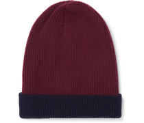 Reversible Ribbed Cashmere Beanie - Burgundy