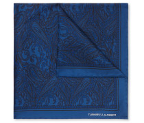 Paisley-print Silk-twill Pocket Square - Navy