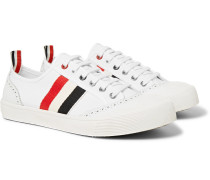 Leather and Grosgrain-Trimmed Canvas Sneakers