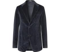Navy Slim-Fit Unstructured Cotton-Velvet Blazer