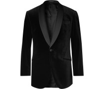 Black Hyde Slim-Fit Faille-Trimmed Cotton-Velvet Tuxedo Jacket