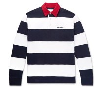 Fielders Twill-Trimmed Striped Fleece-Back Cotton-Jersey Rugby Shirt