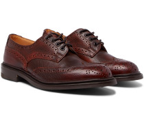 Bourton Burnished Pebble-grain Leather Wingtip Brogues - Burgundy