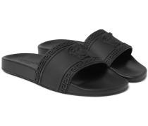 Logo-embossed Rubber Slides - Black