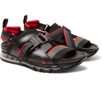 Leather-trimmed Webbing Sandals - Black